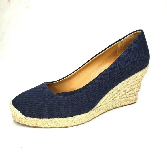 a0c42c661d1 J Crew Factory Wedge Shoes Espadrille Canvas Navy
